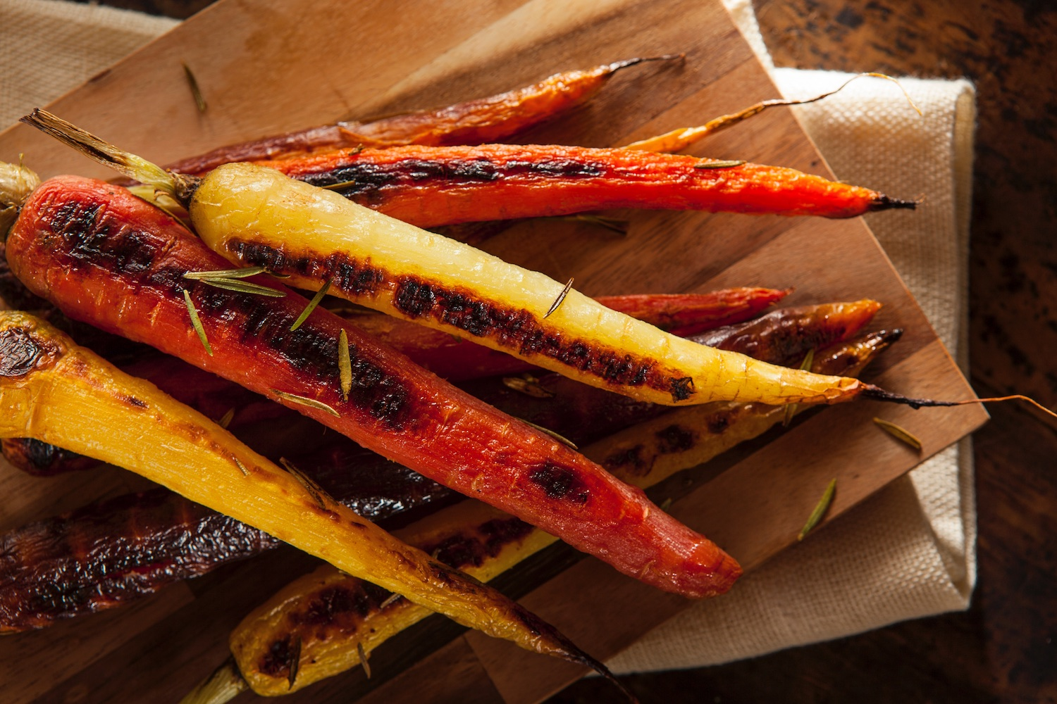 Grilled rainbow carrots with a basil vinaigrette