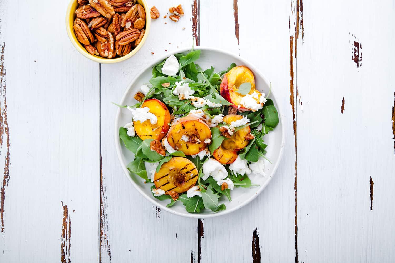 Grilled Peaches & Arugula Salad