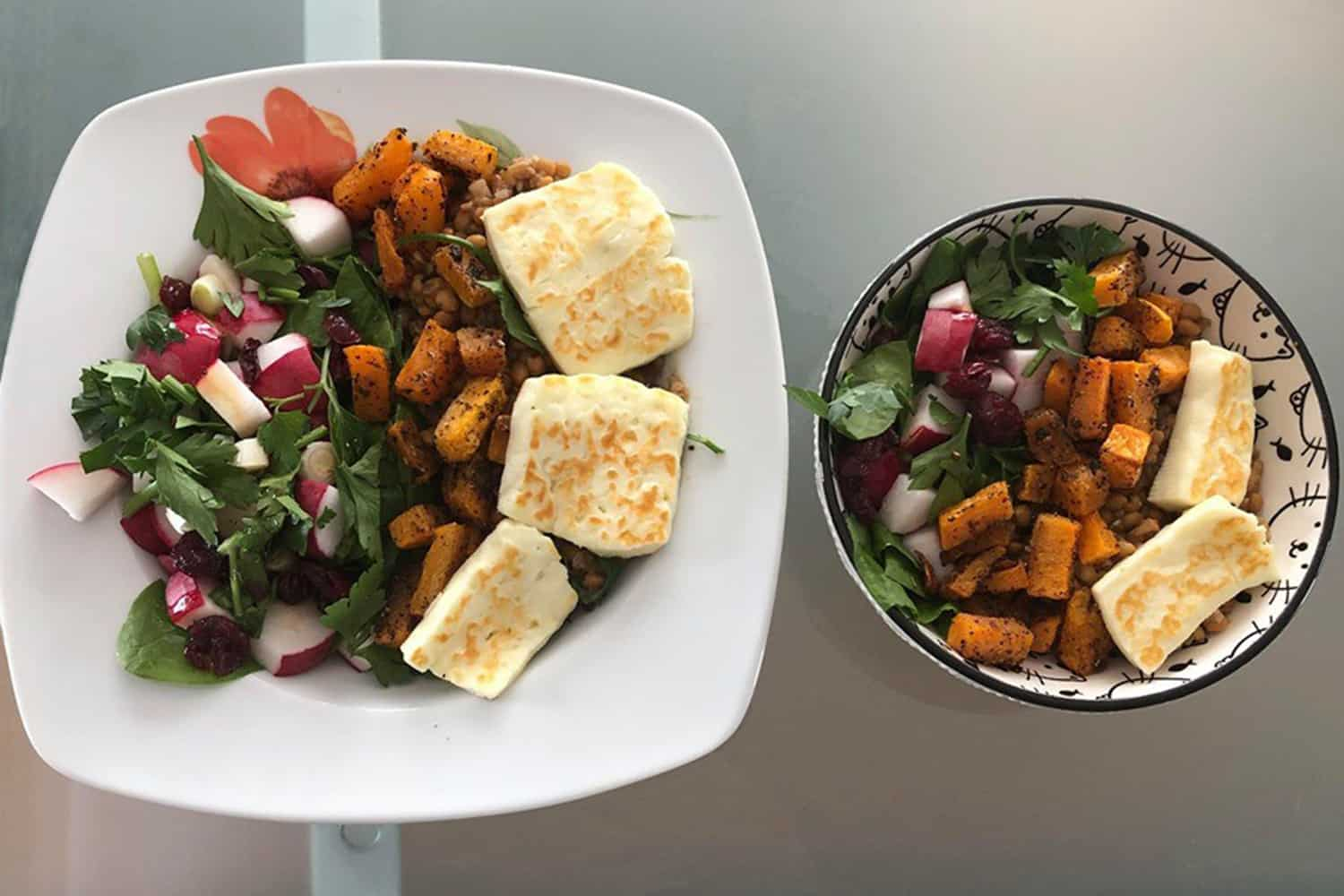 Spinach, Roasted Squash and Halloumi Cheese salad