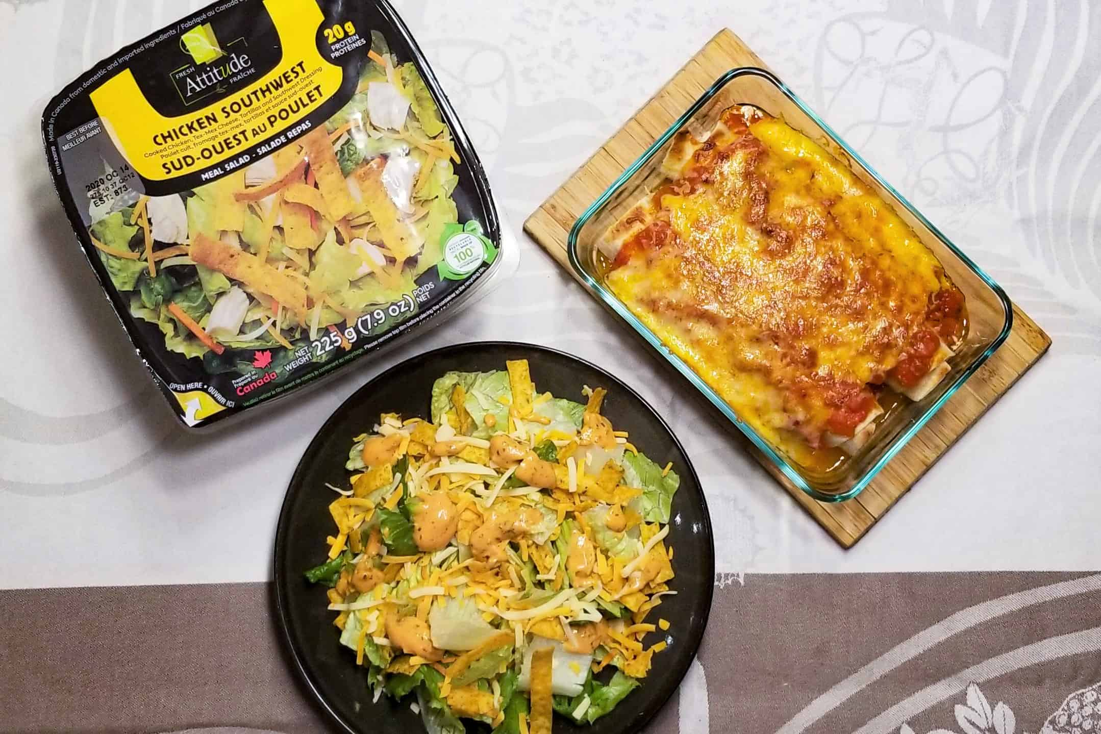 Super-easy Chicken Enchiladas and South-west salad