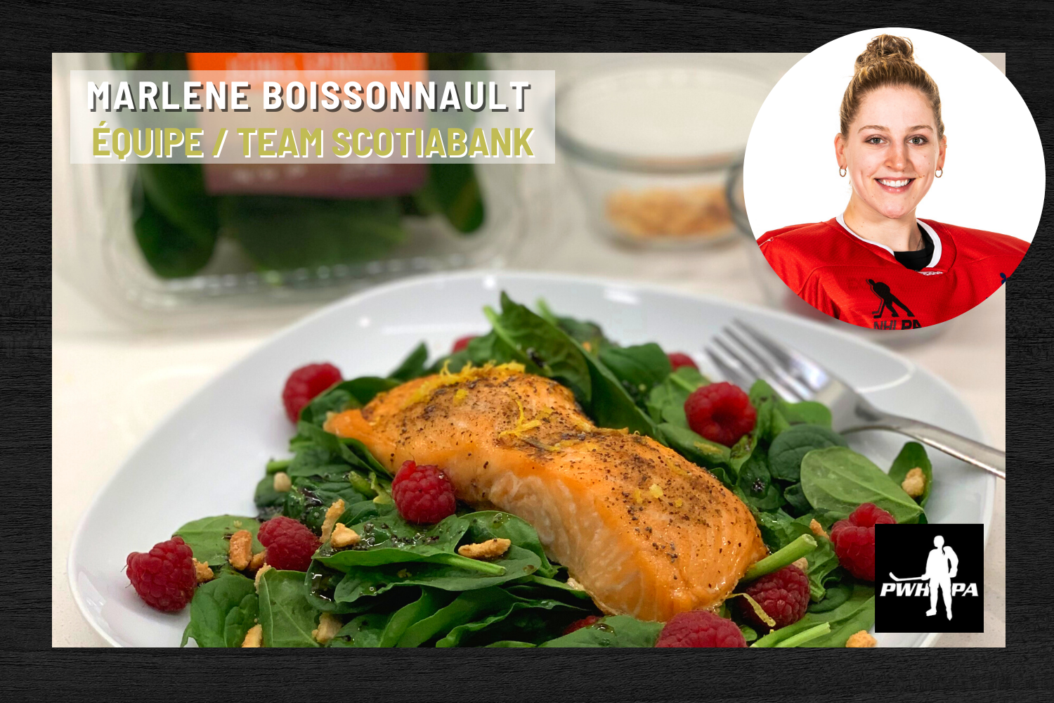 Spinach Grilled Salmon Salad with Raspberry Vinaigrette